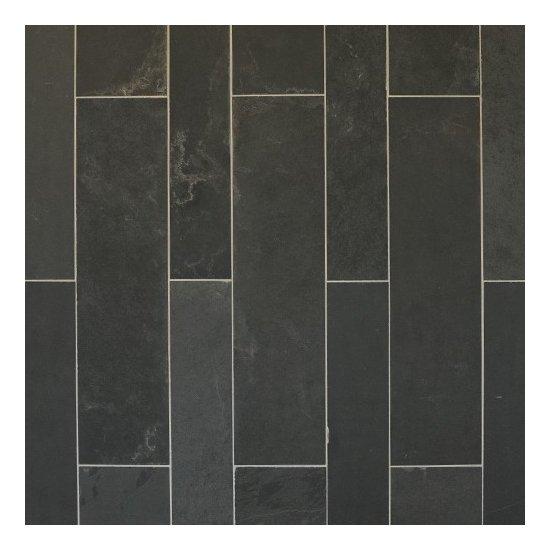 Ardoise noire clivée 10x60 ép.1.00 cm