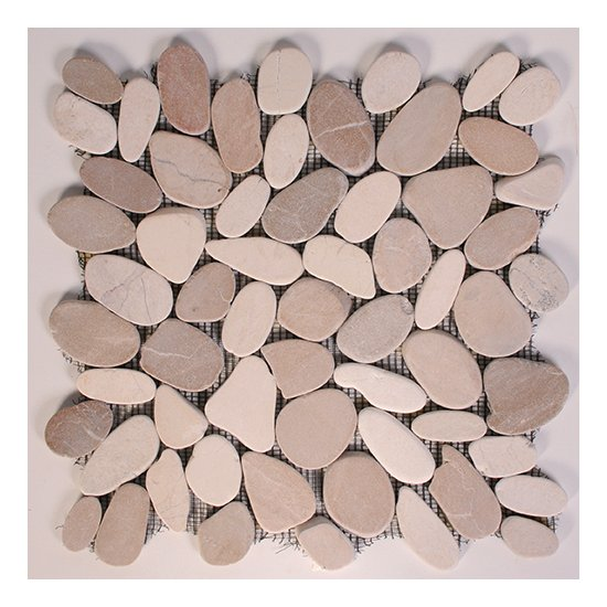 Mosaïque Galet scié marbre gris clair - 30x30 - C-NEGOCE