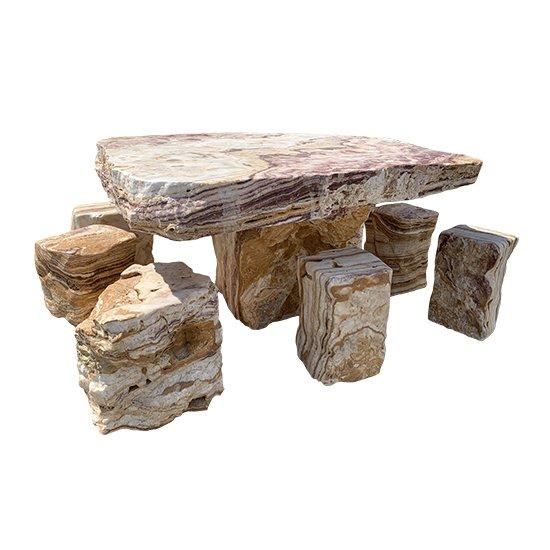 Ensemble table et tabouret en pierre naturelle