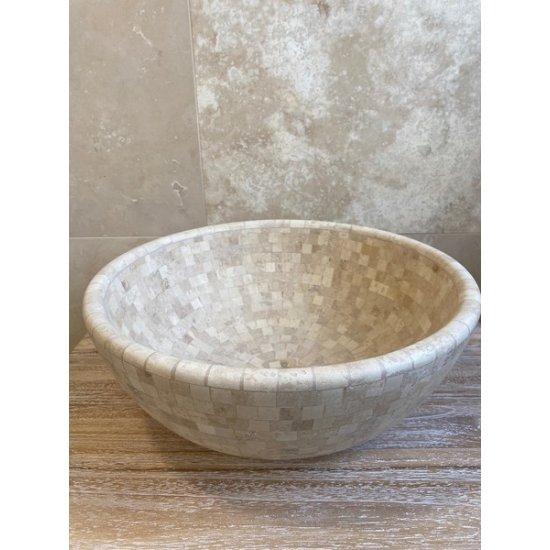 LOT Vasque mosaïque en travertin