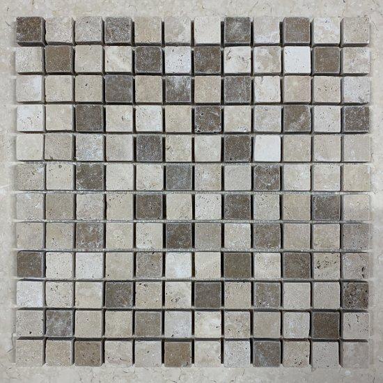 Mosaique travertin mélange 2 nuances