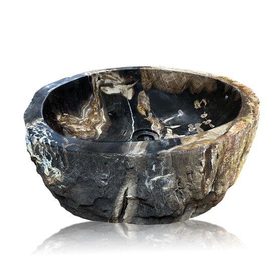 Vasque bois fossilisé noire