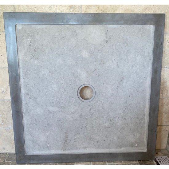 Bac à douche en marbre gris